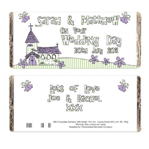 Personalised Whimsical Church Wedding Chocolate Bar